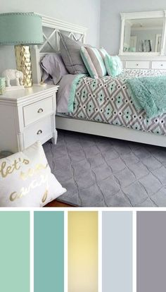 12 gorgeous bedroom color schemes that will give you inspiration for your next bedroom remodel - Decoration Ideas 2018 - Schlafzimmer Best Bedroom Colors, Bedroom Color Schemes, Colour Schemes, Turquoise Color Schemes, Decorating Color Schemes, Colors For Bedrooms, Relaxing Bedroom Colors, Color Combinations, Interior Design Color Schemes
