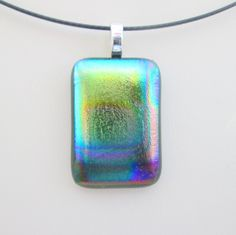 Rainbow dichroic kilnformed fused glass pendant with optional necklace - handmade in England by UK designer maker SRA SRAJD by BlueBoxStudio on Etsy