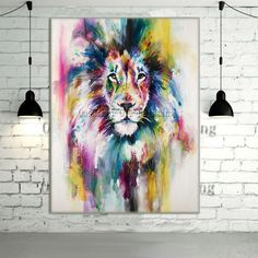 New Hand Painted Modern Color Lion Animals Oil Painting Picture on Canvas Wall Art Animals Painting For Home Decor Picture
