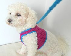 Items similar to Crochet DOG harness, Dog Harness Vest, Matching leash, Pets Harness - Small dog harness on Etsy Crochet Dog Clothes, Crochet Dog Sweater, Pet Clothes, Dog Vest, Pink Dog, Blue Dog, Dog Pattern, Crochet Pattern, Dog Sweaters