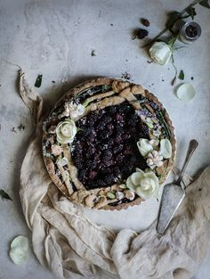 Blackberry Chocolate Italian Tart with Coffee-infused Creme Fraiche