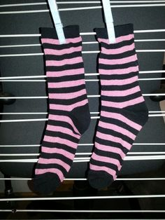 Pink & Black Stripes Socks - $25 + P&H to turn into a Sock Monkey! Email - blue_buggs5@yahoo.com.au - to purchase.