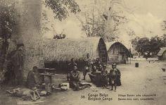 Belgian Congo - Bateke village near Leopoldville. The Bateke are a Central African ethnic group that speak the Teke languages. Belgian postcard sent in 1913.