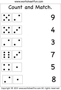 Preschool Worksheets Kindergarten Worksheets First Grade Worksheets Count and Match Worksheets More Dice Worksheets Count and Match - 2 Worksheets Count the dots. Printable Preschool Worksheets, Free Kindergarten Worksheets, Kids Math Worksheets, Addition Worksheets, Free Printable Numbers, Matching Worksheets, Free Printables, Grade 1 Worksheets, Counting Worksheet