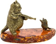 Russian Bronze Solid Brass Amber Humor Figurine CAT AND Mouse Ironwork | eBay