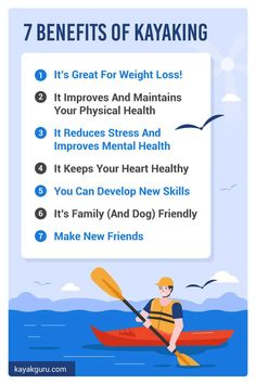 What are the 7 Health Benefits of Kayaking? We run through them all, including: 1) It's Great For Weight Loss! 2) It Improves And Maintains Your Physical Health 3) It Reduces Stress And Improves Mental Health 4) It Keeps Your Heart Healthy 5) You Can Develop New Skills 6) It's Family (And Dog) Friendly 7) Make New Friends Boating Tips, Kayaking Tips, Make New Friends, Dog Friends, Kayak For Beginners, Healthy Facts, Uplifting Thoughts, Improve Mental Health, Camping And Hiking