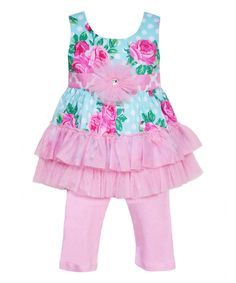 Loving this AnnLoren Pink & Blue Sonia Tunic & Pants - Infant, Toddler & Girls on #zulily! #zulilyfinds