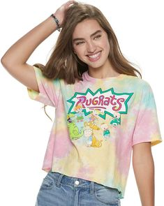 Show some love for your favorite cartoon with this Rugrats tie-dye tee. Juniors Graphic Tees, Dark Beige, Rugrats, Tie Dyed, Crop Tee, Kohls, Short Sleeves, Fashion Outfits, Cotton