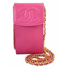 Chanel Fuchsia Pink Caviar Leather Logo CC Cellphone Case Crossbody Bag