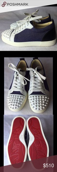 """Louis Spikes Womens Multicolored Sneakers Euro 36 Perfect condition, worn handful of times. Made of white patent, blue denim and black leather.  Light signs of wear on the soles. No scratches, tears or any other flaws. All spikes are on their place.   Come with dust bag only.     I included detailed pictures to show the true condition of this item.   Please inspect them carefully using zoom and don't hesitate to ask for any additional pics.    Measurements  Insole is 9.25"""" Christian…"""