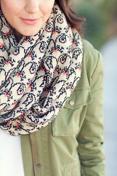 Opt for a printed scarf this fall to pair with your go-to cargo jacket.
