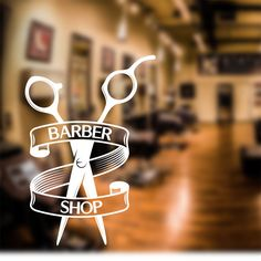Barber Shop Wall Sticker scissors decal sign door art hair graphic bb1 in Business, Office & Industrial, Retail & Shop Fitting, Signs | eBay