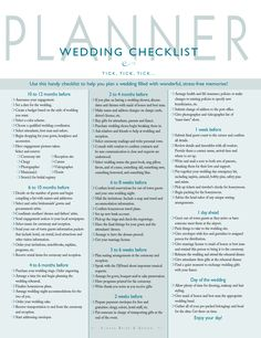 Wedding Check List And You Can Cross Off The Things You DonT