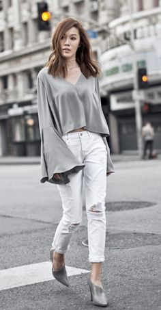 asymmetric mules with bell sleeved top and jeans