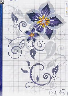 Columbine: shadow vine pale green ,petals very very pale blueGallery. Butterfly Cross Stitch, Cross Stitch Tree, Cross Stitch Cards, Cross Stitch Borders, Modern Cross Stitch Patterns, Cross Stitch Flowers, Cross Stitch Designs, Cross Stitching, Cross Stitch Embroidery