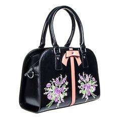 Voodoo Vixen Purple Flowers Handbag (Black)