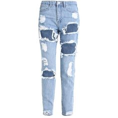 Missguided RIOT HIGH RISE RIPPED MOM STONEWASH Slim fit jeans ($42) ❤ liked on Polyvore featuring jeans, blue distressed jeans, stonewash jeans, stone washed jeans, slim jeans and slim fit jeans