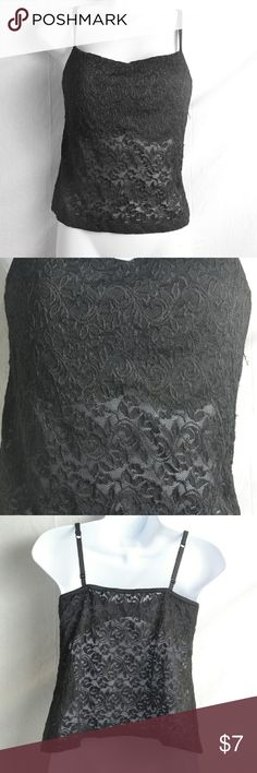 Black Floral Lace Bra Style Tank Top By Inner Self This is a gorgeous tank top from Inner Self that is solid black floral lace, and has adjustable spaghetti straps.  This is bra style and has a 3 hook clasp in the back with built in bra liner.  This will fit anyone with size 34D cups. #innerself #brastyle #lace #blacklace #blacklaceytop #34d #size34d Inner Self Tops Tank Tops