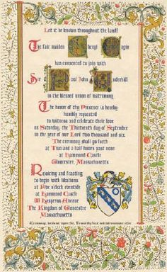 Renaissance Wedding Invitations Medieval Wedding Invitation
