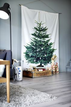 Ikea Fabric~ If you don't have room for a Xmas tree, here's one solution. Noel Christmas, Winter Christmas, All Things Christmas, Christmas Crafts, Christmas Decorations, Holiday Decor, Homemade Christmas, Christmas Backdrops, Cheap Christmas