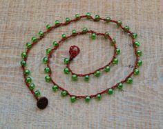 Chic, pretty wrap necklace made with fern green Czech glass beads by BijoubeadsLondon £22.00