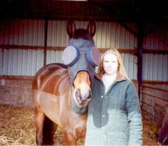 "Carol and her Thoroughbred gelding, ""Lord Byron""  Wearing the ""Standard Guardian Horse Mask with 95% Sunshades"" 2001 Dorset England www.horsemask.com"