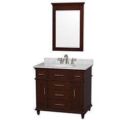 "36"" Berkeley Single Bathroom Vanity Set by Wyndham Collection - Dark Chestnut #vanities #HomeRemodel #BathroomRemodel #BlondyBathHome #Freestanding"