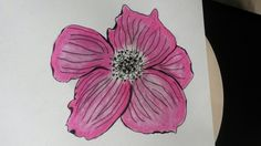 Flower made with black pen and pink lipstick