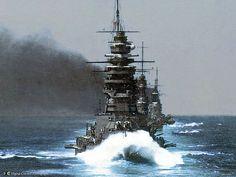 Splendid prewar view of Japanese battleships in line ahead. | by umbry101