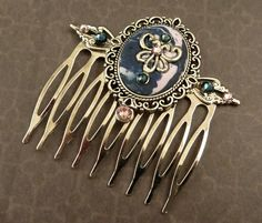 Antique hair comb in purple silver baroque hair comb Polymer Clay Accessorie - pinned by pin4etsy.com