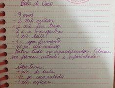 Bolo de coco - Lucila (ingredientes e preparo)