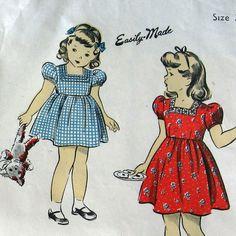 Vintage 1940s Girls Dress Pattern Toddler Size With Square Cut Neckline DuBarry 5826 Sz 2 UNCUT