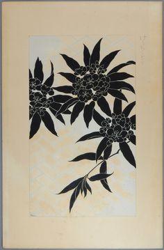 """Original japanese antique woodcut print Kawarazaki Kodo """"Oleander"""""""