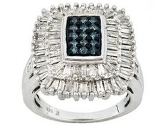 Blue Velvet Diamond(Tm) 1.50ctw Round And Baguette Rhodium Over Sterling Silver Ring Eav $550.00