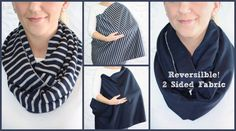 Hold Me Close Nursing Scarf - Navy and Gray Stripes and Solid Navy, Nursing Cover, Infinity Scarf, Infinity Nursing Scarf