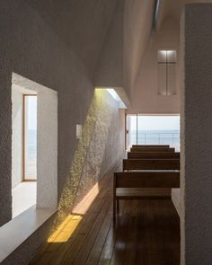 """""""At the noon of spring, summer and fall, when the solar altitude is almost perpendicular, the light projects directly onto the wall on the north, generating a vivid lighting effect,"""" said the architects."""