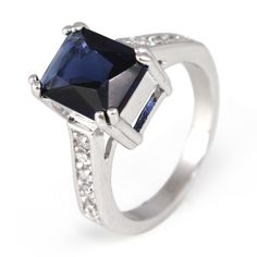 Win this Emerald Cut Sapphire Crystal Ring from the Bee's Knees Gems Daily Giveaway! Emerald Cut Sapphire Ring, Diamond, My Birthstone, Free Ring, Bees Knees, Beautiful Rings, Jewelery, Gems, Wedding Rings