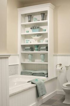 Reverse this for one side storage, one side a wall for the shower.