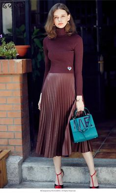 Bella Philosophy 2016 spring new faux leather pleated long Organ skirt skirt dark green red orange