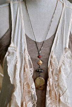 Bohemian long beaded gemstone necklace. by tiedupmemories on Etsy