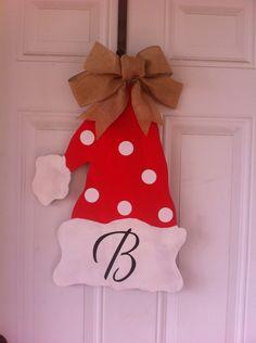 Wood door hanger! -Santa Hat Personalized with burlap bow