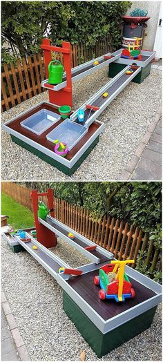 we would like to show another idea for the kids. This is kids playstation made up of pallets and the paints used for making it colorful as well appealing is complementing each other. The kids, especially the boys will love this idea because it contains the track for the cars and vehicles grab the attention of boys more than girls.