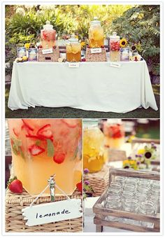 Definitely having a lemonade stand for my wedding. I've decided I'. Definitely having a lemonade stand for my wedding. I've decided I'm definitely having an outdoor weddi Party Knaller, Festa Party, Snacks Für Party, Ideas Party, Table Party, Brunch Table, Bbq Ideas, Derby Party, Brunch Party