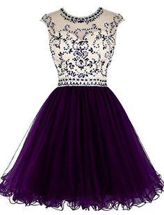 ALAGIRLS Short Beading Prom Dress Tulle Homecoming Dress ...