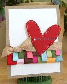 DIY Ribbon Crafts : Ribbon Scrap Border Card