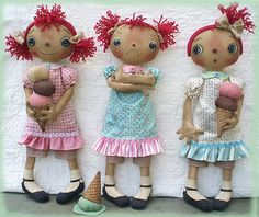 Primitive E-PATTERN Raggedy Dolls and Ice Cream Cones PDF - pinned by pin4etsy.com