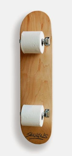 Well, that's one way to use an old skateboard.  Two rolls?