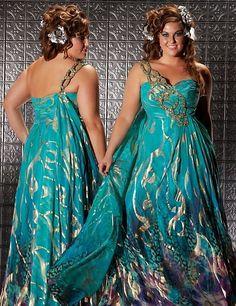 0c5e7dc5650 Fabulouss Teal Print Plus Size Prom Dress by MacDuggal 6323F