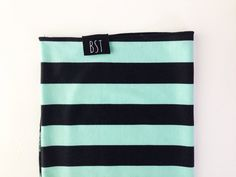 Black and Mint Vertical Stripe Ponte Knit by BusySpinningThread, $18.00