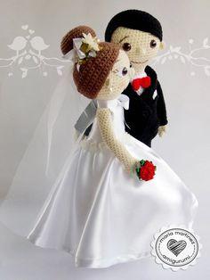 Más novios en Crochet (patrón) – Maria Martinez Amigurumi Crochet Doll Pattern, Crochet Dolls, Knit Crochet, Crochet Patterns, Wedding Doll, Crochet Wedding, Amigurumi Doll, Wedding Cake Toppers, Doll Patterns